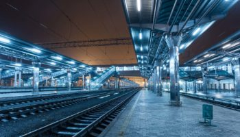 railway station at night train platform in fog PD2JH45 1
